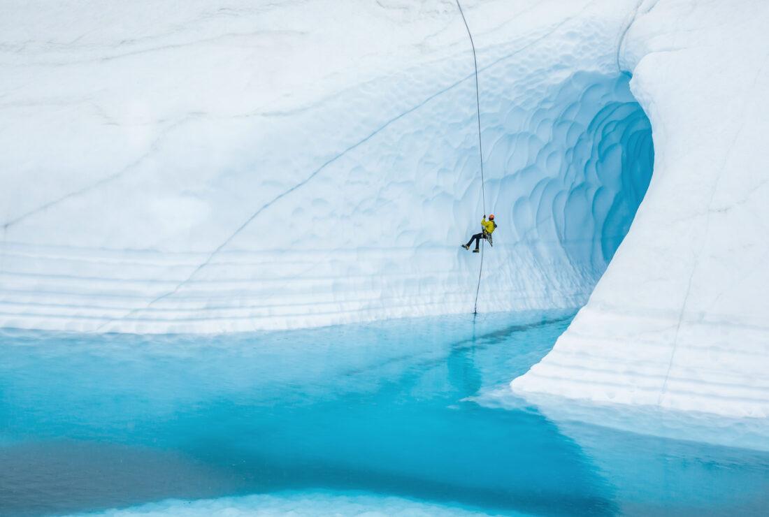 Rappelling in Alaska
