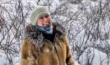 Rosanna Strong stands in the snow of the NWT