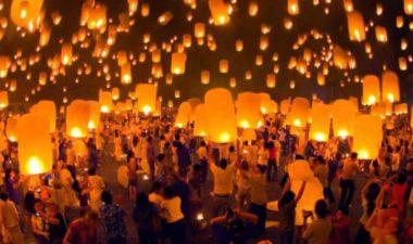 A sea of lanterns