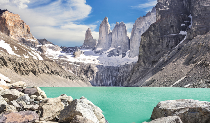 The Torres del Paine mountains in Patagonia, Chile