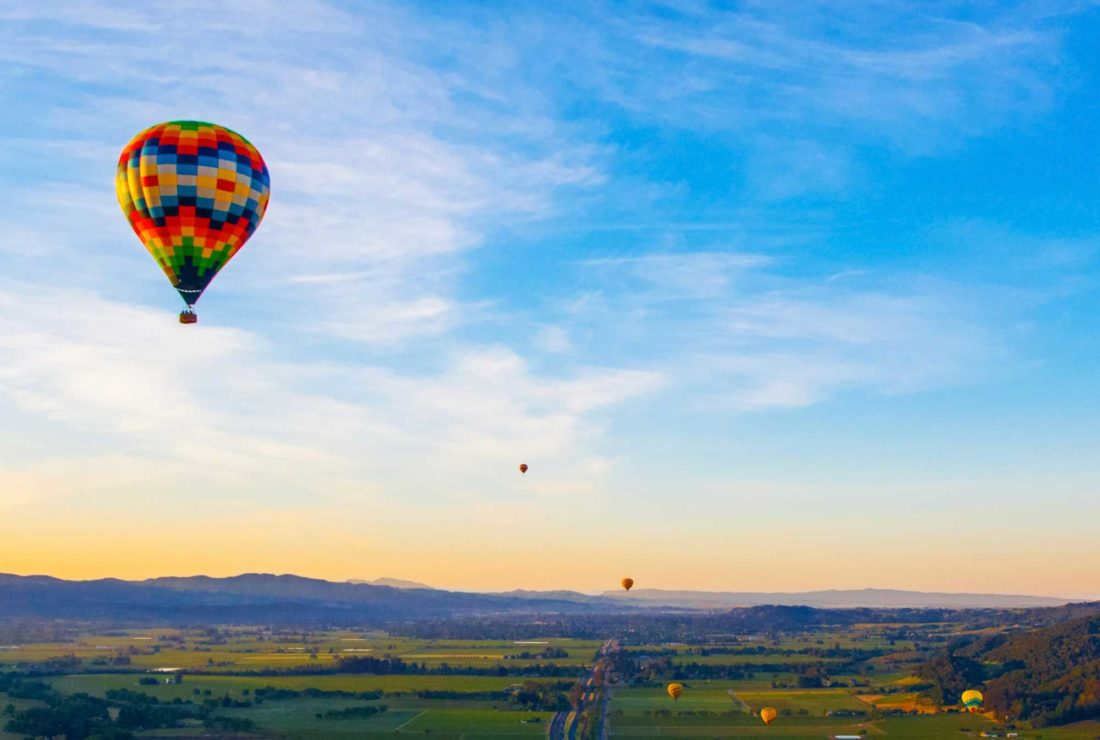 Private hot air balloon over Napa Valley