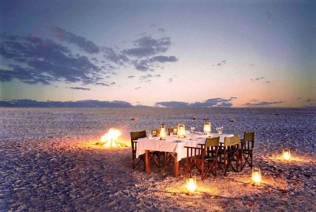 A luxury private dinner at Jack's Camp, Botswana