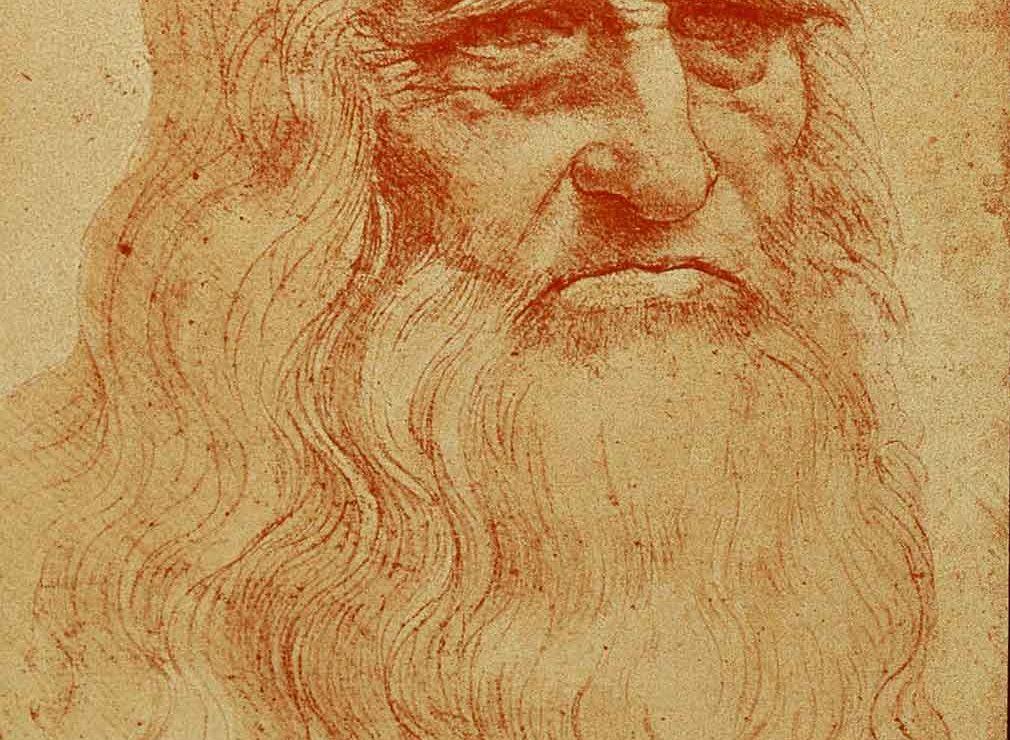 da Vinci sketch of man in red chalk