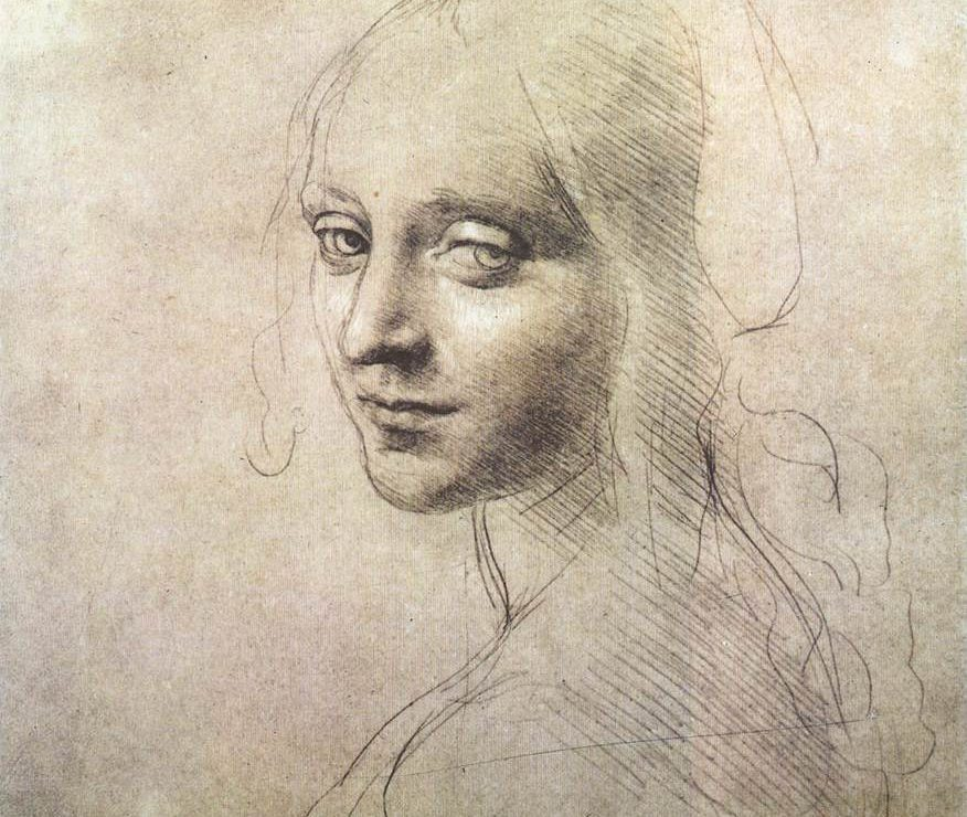 Sketch of girl by da Vinci
