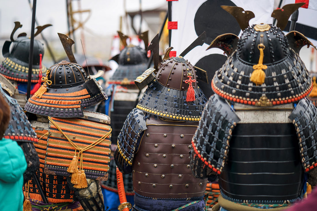 Samurai warriors in armour