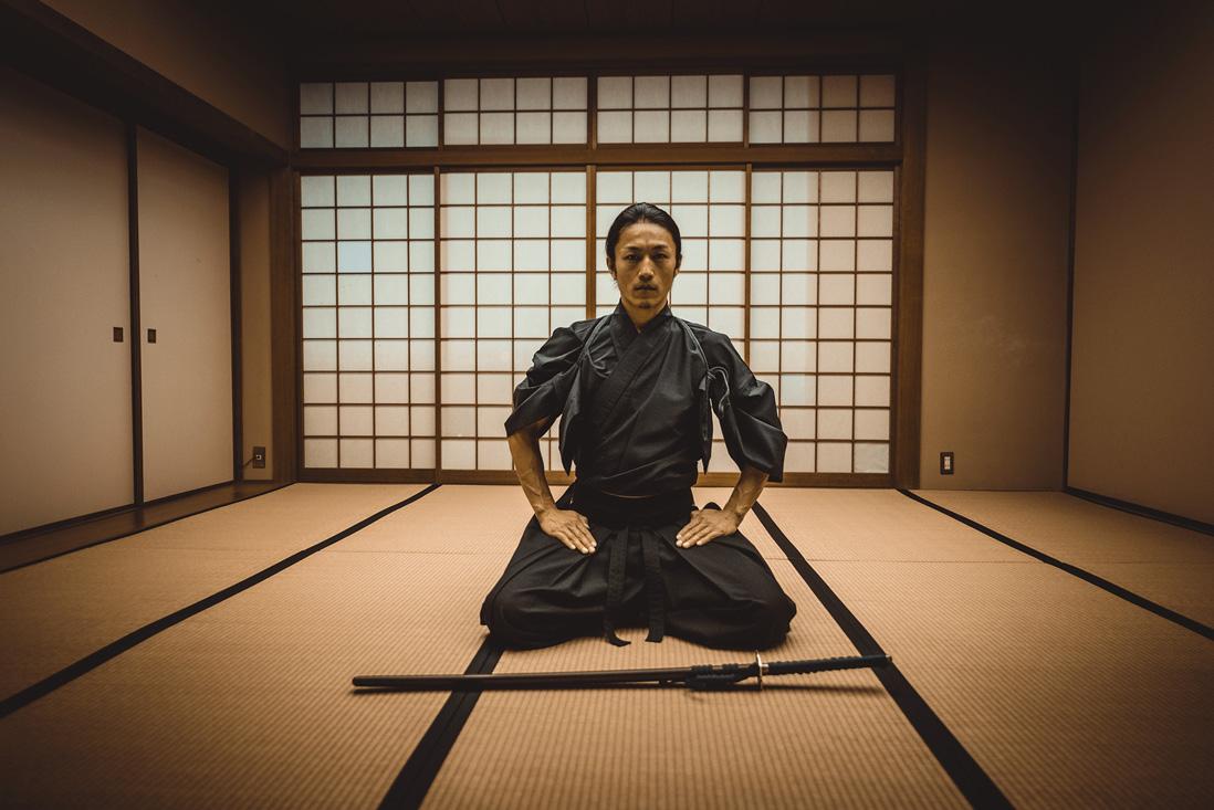 Samurai with katana sword