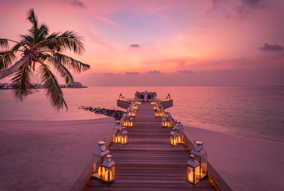 Maldives honeymoon dinner